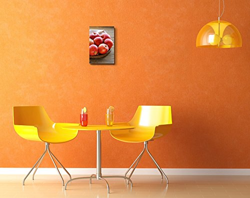 Still Life Ripe Red Apples Autumn Harvest on a Wooden Table Wall Decor