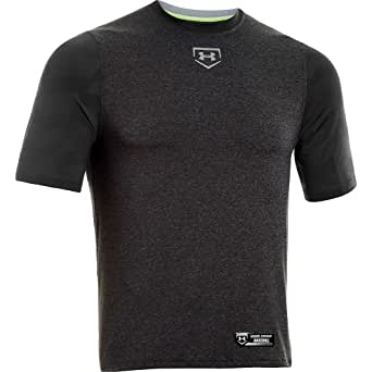 Mens Under Armour Spine Gameday Short Sleeve Shirt Black/Carbon Heather/Silver Size Small