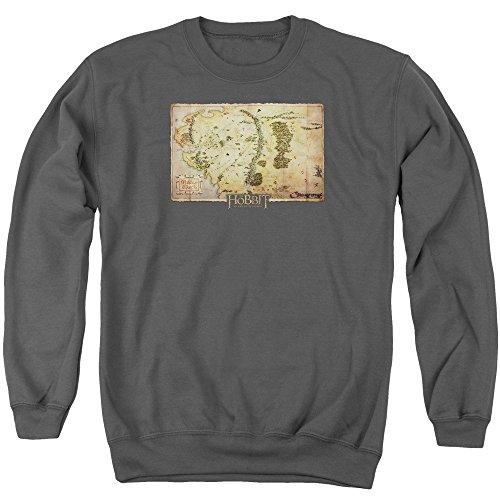 The Hobbit Middle Earth Map Unisex Adult Crewneck Sweatshirt for Men and Women, Medium Charcoal