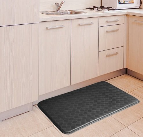 "GPCT Anti-Fatigue Memory Foam Home/Kitchen Mat and Anti-Slip Surface, Stain and Water Resistant, 30""×18""×0.75""(L×W×H) - Black"