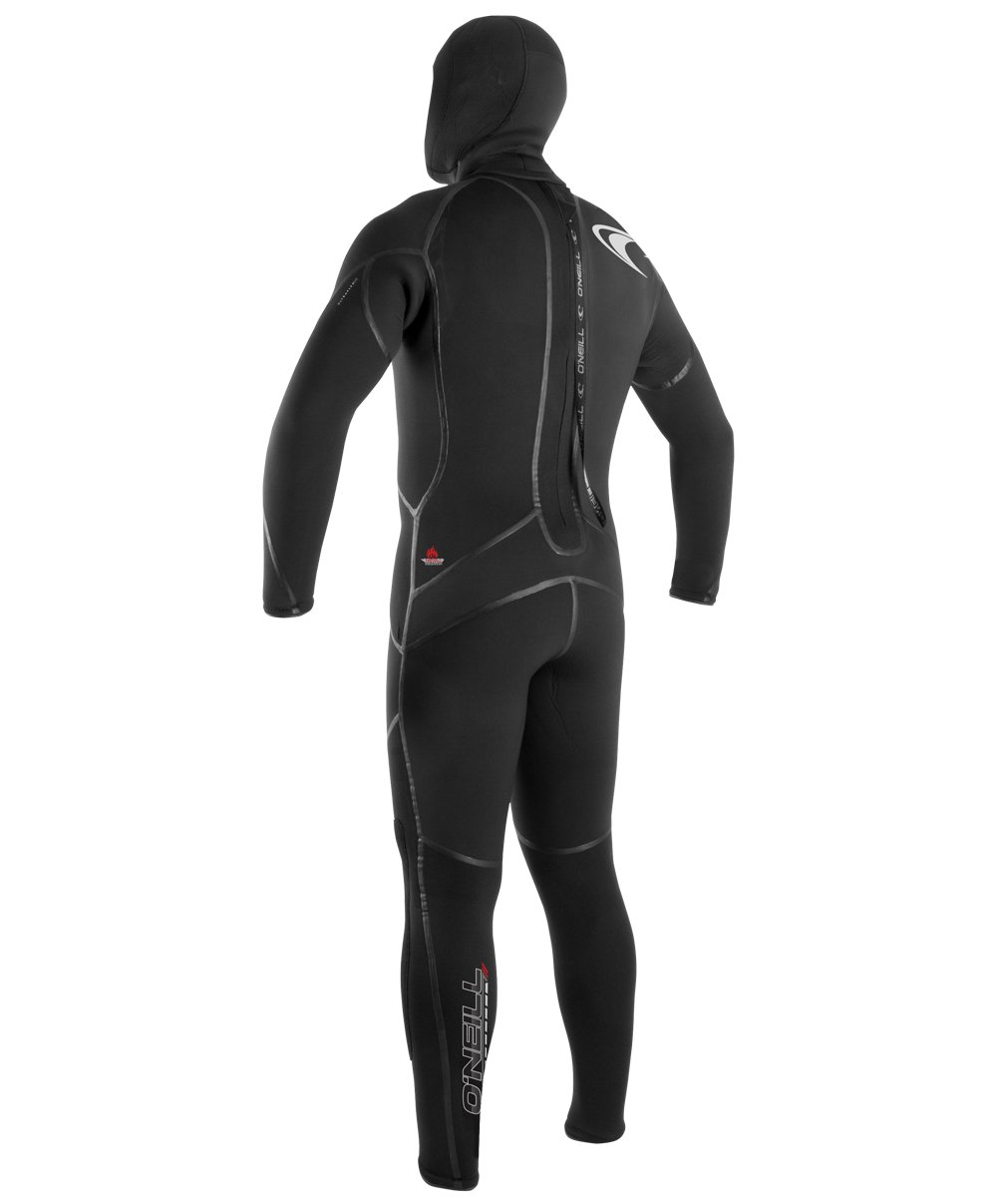 O'Neill Men's Dive J-Type 7mm Back Zip Full Wetsuit with Hood, Black, Large Short by O'Neill Wetsuits (Image #2)
