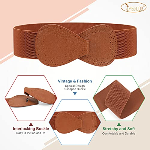 """JASGOOD 3 Pack Wide Vintage Elastic Waist Belt for Women Stretchy Cinch Waistband for Dress, Suit for Waist Size: 30-34"""", A-Black+White+Brown"""