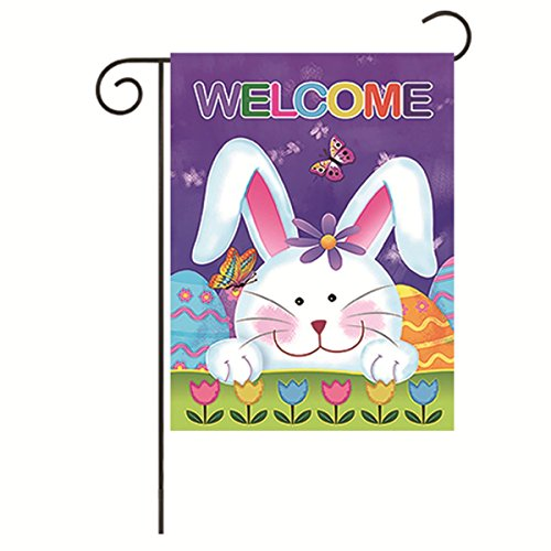 JoyPlus Easter Rabbit Flower Garden Flag - Vertical Double Sided Spring Summer Decorative Rustic/Farm House Small Decor Welcome Yard Flags Set for Indoor & Outdoor Decoration, 12 X 18 Inch (Easter Flag Banner)