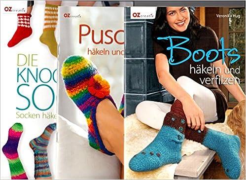 3 Hefte Oz Creativ Die Knooking Socke Socken Häkeln Wie Gestrickt