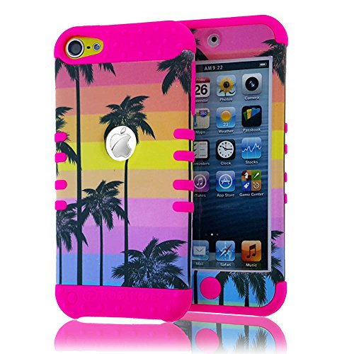 - MobileCentral(TM) for IPOD TOUCH 5th & 6th GENERATION Case; [HOT PINK PALM TREES BEACH SUNSET] Hybrid Dual Layer Armor Rugged Impact Skin Cover & Stylus Pen (iPod 5 & iPod 6)