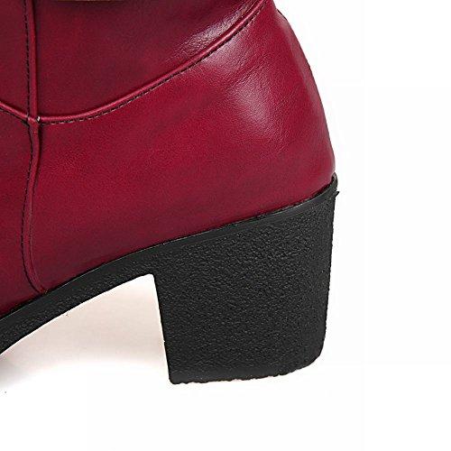 Mee Shoes Damen chunky heels runde langschaft Reißverschluss Stiefel Weinrot