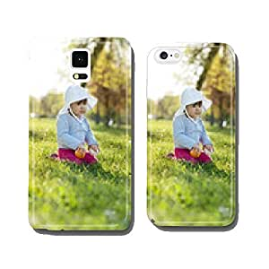 Cute little girl playing in the park on spring day cell phone cover case Samsung S6