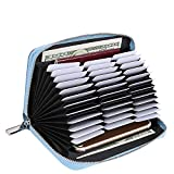 Credit Card Wallet for Women, RFID Blocking 36 Slots Credit Card Holder Leather,Large Capacity Zipper Purse (Blue)