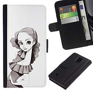 iBinBang / Flip Funda de Cuero Case Cover - Girl Pencil Drawing Portrait Big Eyes Skinny - Samsung Galaxy Note 4 SM-N910
