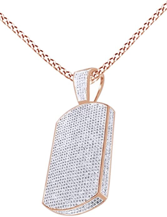 White Round Cut Diamond Dog Tag Men/'s Pendant In Solid 925 Sterling Silver New**