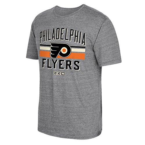 NHL Philadelphia Flyers Men's CCM Classic Stripe Tri-Blend Short Sleeve Tee, Medium, Gray
