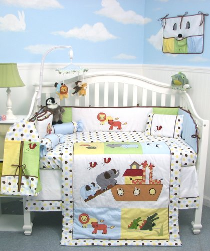 SoHo Noah Ark Baby Crib Nursery Bedding 13 pcs included Diaper Bag with Changing Pad & Bottle Case