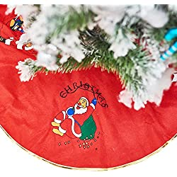 Christmas Tree Skirt - Red Felt Fabric with Santa Claus Characters Decorations for Christmas Tree Base