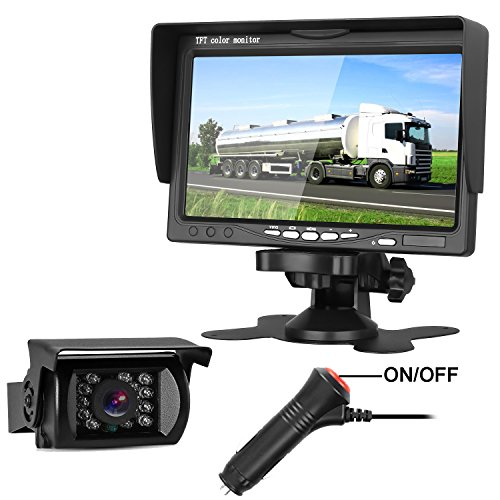 LeeKooLuu Backup Camera Truck/Trailer/Motorhome/Camper/RV Single Power System 7'' HD Monitor Reverse/Continuous Use IP68 Waterproof Guide Lines ON/Off -