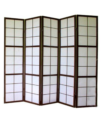 PEGANE Shoji Biombo japonés de madera negro 5 paneles