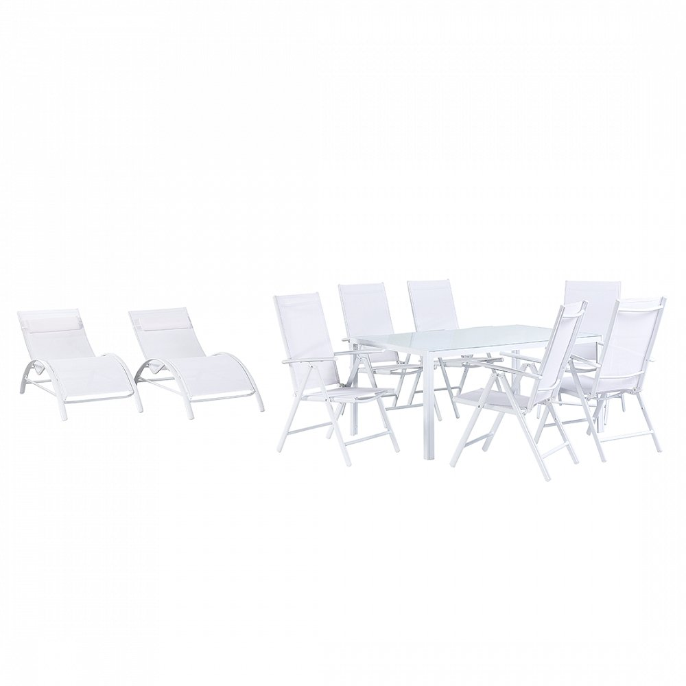 Gartenmöbel Set Weiss - Tisch 160 cm - 6 Stühle – 2 Liegen - Aluminium - CATANIA