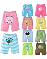 Baby PP Pants 5 Pack, Cotton Animal Baby Pants for Summer (12 Months, Boy)