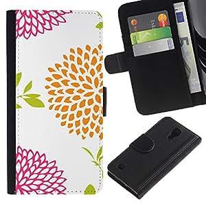 For SAMSUNG Galaxy S4 IV / i9500 / i9515 / i9505G / SGH-i337,S-type® Floral White Vintage Orange Pink - Dibujo PU billetera de cuero Funda Case Caso de la piel de la bolsa protectora
