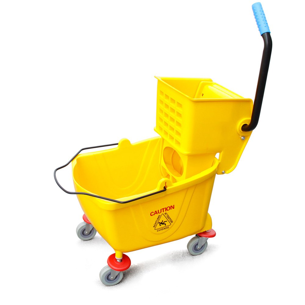 New Star Commercial Quality Side Press Mop Bucket with Wringer, 26-Quart (6.5-Gallon) Capacity, Yellow