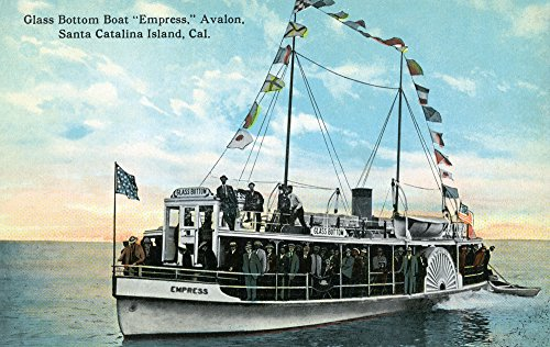 Santa Catalina Island, California - Glass Bottom Boat Empress View (24x36 SIGNED Print Master Giclee Print w/Certificate of Authenticity - Wall Decor Travel Poster)