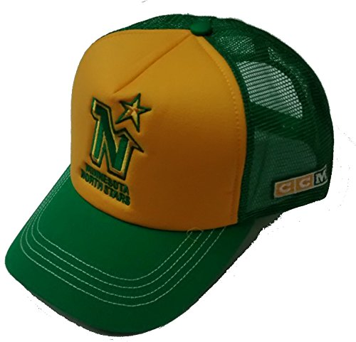 Ccm Vintage Cap (Men's Green and Yellow Mesh Minnesota North Stars Snapback)