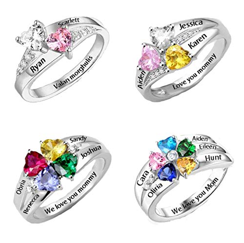 (Yandam Engraving Name Ring Personalized Heart Shape Birthstone Ring Mother's Day Ring(Silver-Plated-Base 8))