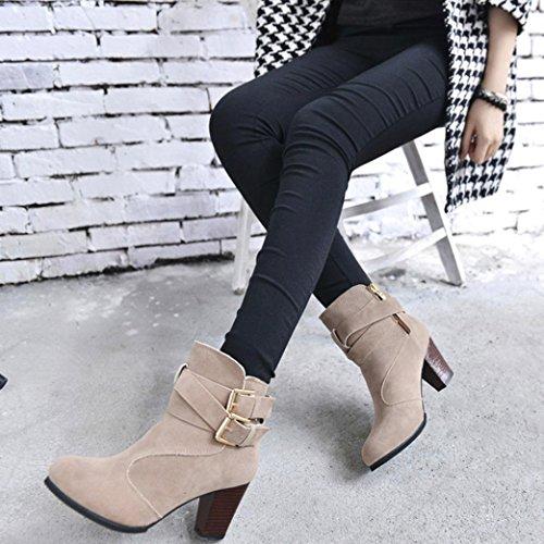 signore delle Beige Women della High alti donne fibbia Boots Shoes Stivaletti Tacchi Stivali Faux cintura Martin delle SOMESUN Heels vngnqz