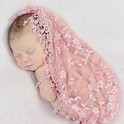 FUA® Newborn Photo Props *14 Colors to Choose From* Floral Lace Layers (Pink)