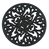 Ogrmar 6.6 '' Diameter Decorative Cast Iron Round Trivet with Vintage Pattern for Rustic Kitchen Or Dining Table with Rubber Pegs (6.6 '', Brownish black)