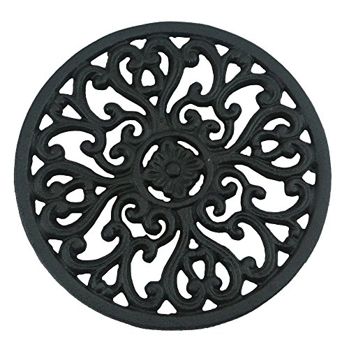 Review Of Ogrmar 6.6  Diameter Decorative Cast Iron Round Trivet with Vintage Pattern for Rustic Ki...