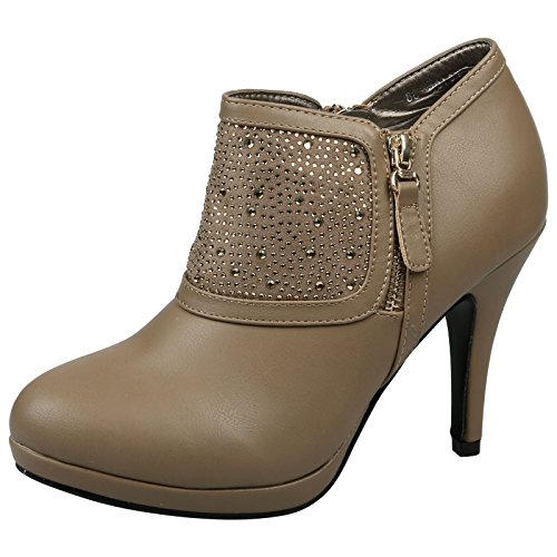 Feet First Fashion Alayna Womens High Stiletto Heel Platform Diamante Ankle Boots Khaki Tan Faux Leather 5HpErrzy
