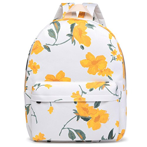 Yellow Girls Women Backpack Backpack Students School Flower Yellow Canvas Dabixx Printed PAq5pwzz