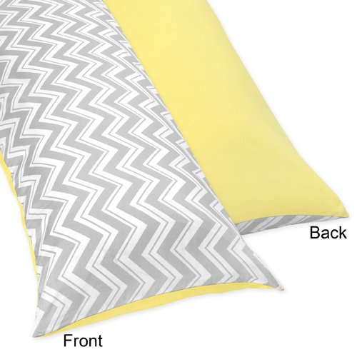 Sweet Jojo Designs Yellow and Gray Zig Zag Full Length Double Zippered Body Pillow Case Cover (Pillow Yellow Body)