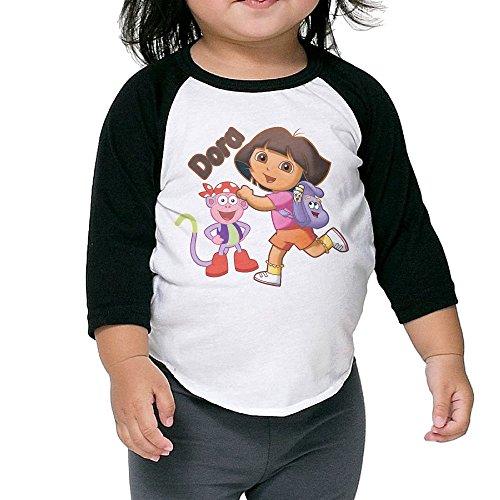 Dora The Explorer Raglan Tee Toddler 100% Cotton 3/4 Baseball Sleeve Unisex Comfortable]()