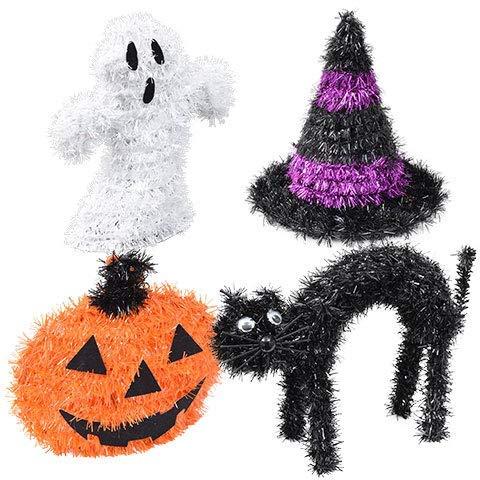 PartyDeiz Halloween Tinsel Decoration - 4 Set - Black Cat, Jack-O-Lantern, Ghost and Witch Hat ()