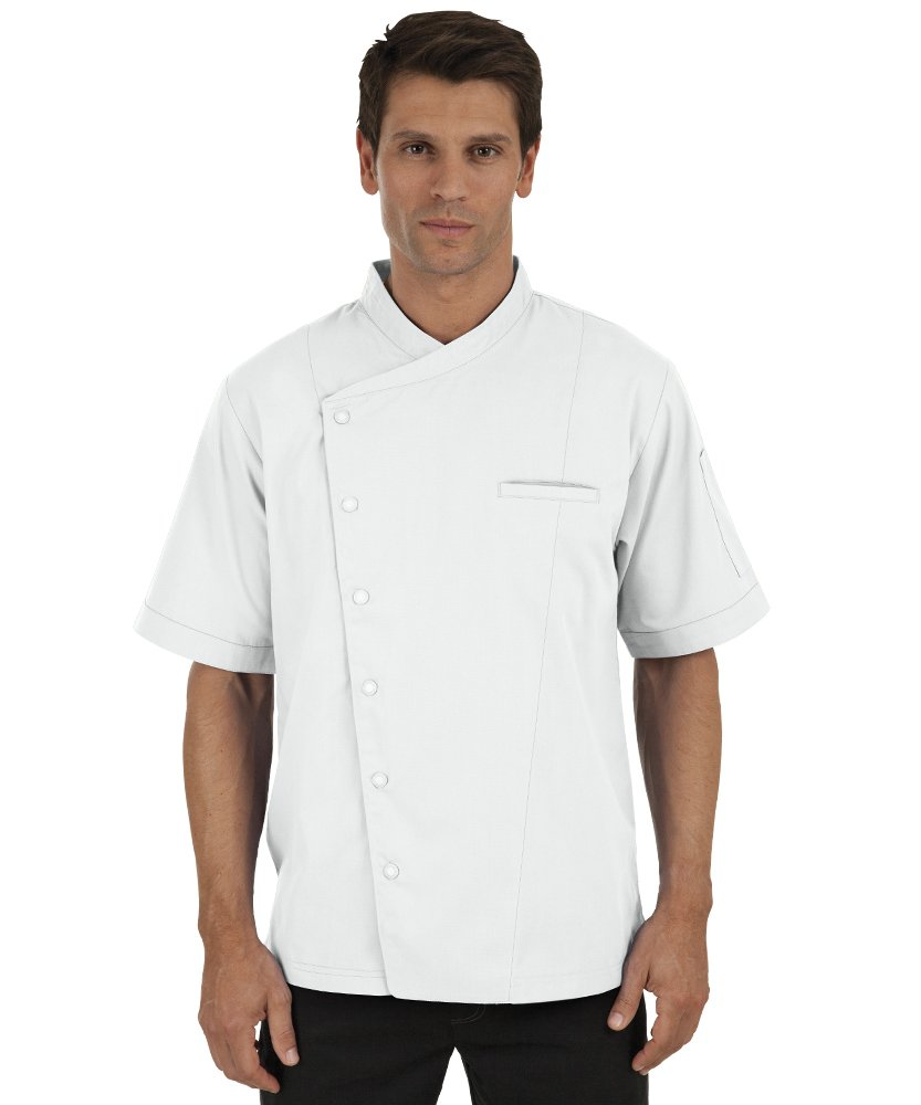 Men's Short Sleeve Chef Coat with Mesh Sides (XS-3X, 2 Colors) (XX-Large, White) by ChefUniforms.com (Image #6)