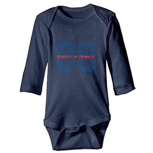 Custom Martellus Bennett 88 Baby Girl And Boy Climbing Cotton Long Sleeve Shirt Navy     6 M