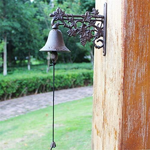 アンティークドアベル 呼び鈴鉄のドアのベル素朴な花のドアチャイムウォールは、農家のために、フロントドアのベルをマウント 鋳鉄の装飾的なドアベル (Color : Brass, Size : 23.8X20.5X10.5CM)