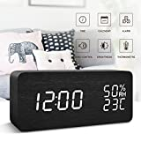 FiBiSonic Office Desk Clock Black Wooden Clock White LED Digital Voice/Touch Control Desk Silent Modern Style Alarm Clock with Thermometer and Hygrometer, Best Gifts for Friends/Families