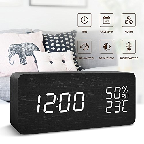 FiBiSonic Office Desk Clock Black Wooden Clock White LED Digital Voice/Touch Control Desk Silent Modern Style Alarm Clock with Thermometer and Hygrometer, Best Gifts for (Deco Occasional Tables)