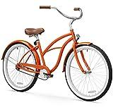 sixthreezero Women's Single Speed Beach Cruiser Bicycle, Glossy Orange w/Brown Seat/Grips, 26