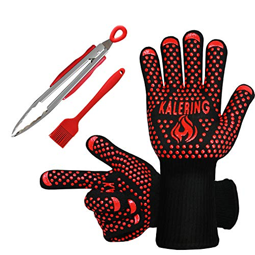 (BBQ Accessories-Kitchen Tongs- Basting Brush-[UPGRADED] Grill Gloves 1472ºF Heat Resistant Oven/Cooking Gloves Great Value for Three Barbecue Accessories-EN 407 EN420 CE Certificate)