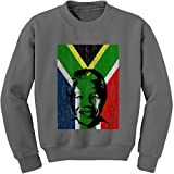 Expression Tees Crew Nelson Mandela South Africa Flag Adult Small Charcoal Grey