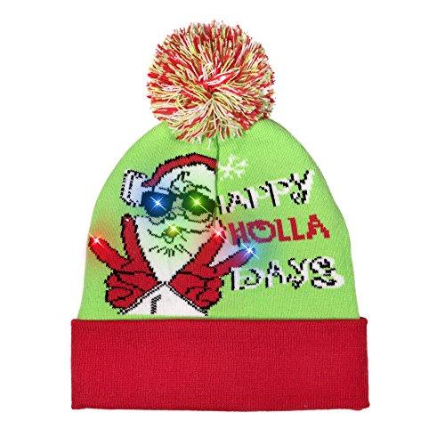 Windy City Novelties LED Light-up Knitted Ugly Sweater Holiday Xmas Christmas Beanies - 3 Flashing Modes (Happy Holla Days)