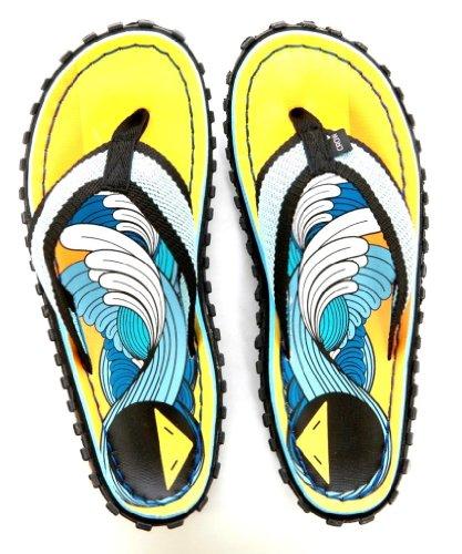 Crow's Feet Men's Living The Dream Yellow Sandal Size 7 Flip Flop