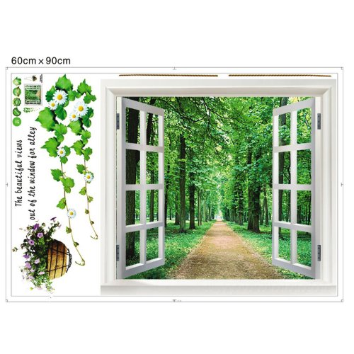 YESURPRISE New PVC 3D Green View Window Film Flowers Plant living room Wall Stickers baby kid's room wallpaper art Mural decal Paper House Room