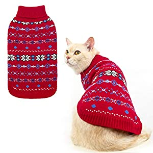 BINGPET Snowflake Turtleneck Sweater for Cats & Small Dogs – Cute Pullover Pet Puppy Kitty Knitwear Cold Weather Clothes…