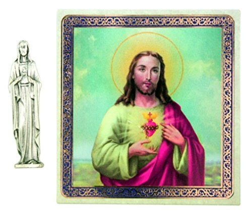 The Sacred Heart of Jesus Christ 1 1/2 Inch Pocket Statue with Prayer Card