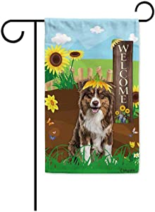BAGEYOU Welcome Summer Sunflower Dog Garden Flag Australian Shepherd Playing on a Country Farm Butterfly Flowers Decor Banner for Outside 12.5x18 Inch Print Double Sided