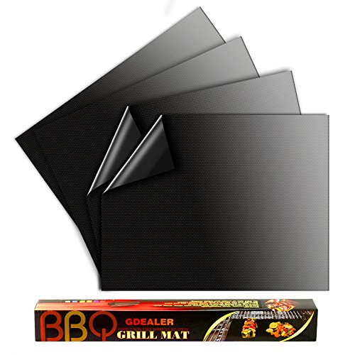 "GDEALER BBQ Grill Mat 16""x13"" Barbecue Grill Mats Grilling Mat Set of 4 Reusable Heat Resistant Heavy Duty Non-stick Barbecue Sheets for Baking on Gas, Charcoal and Electric Grills"